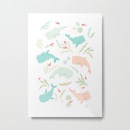 Pastel Whale Pattern Metal Print
