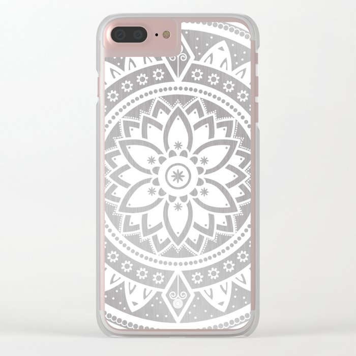 Silver & White Patterned Flower Mandala Clear iPhone Case