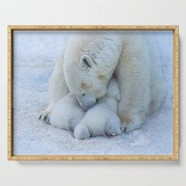 Polar Bear mom feeding twins cubs. Serving Tray