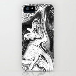 Mishiko - spilled ink abstract marble painting black and white minimal modern marbled paper water  iPhone Case