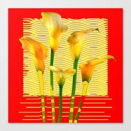 Modern Golden Calla Lilies Red Art Canvas Print