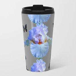 BLACK BUTTERFLIES & PASTEL IRIS MODERN ART DESIGN Travel Mug