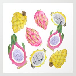Exotic Fruit, Dragon Fruit watercolor Art Print
