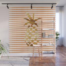 Pineapple & Stripes - Orange/White/Gold Wall Mural