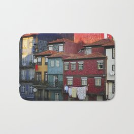 Colorful houses. Porto, Portugal. Bath Mat