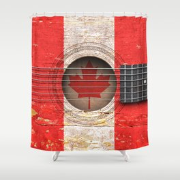 Old Vintage Acoustic Guitar with Canadian Flag Shower Curtain