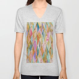 Justine Abstract Brushstrokes Pattern Unisex V-Neck