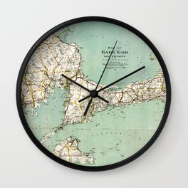 Cap Cod and Vicinity Map Wall Clock