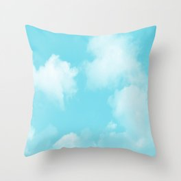Aqua Blue Clouds Throw Pillow