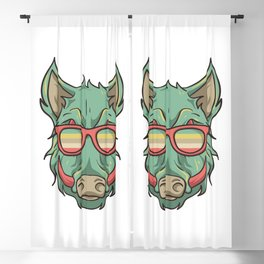 Hog Hunting - Boar Face Wearing Glasses Blackout Curtain