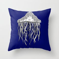 Blue Jellyfish Throw Pillow