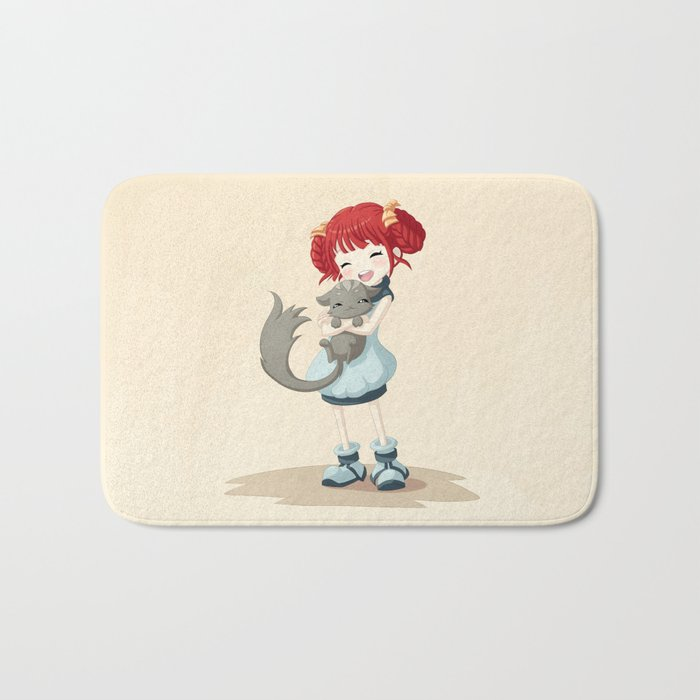 Girl and a Cat Bath Mat