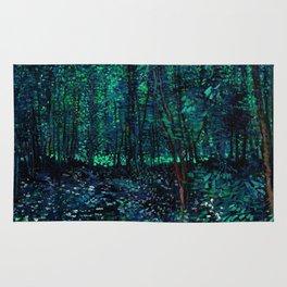 Vincent Van Gogh Trees & Underwood Teal Green Rug