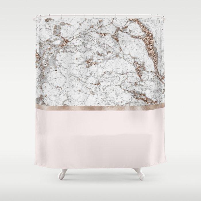 Gleaming Rose Gold Blush Shower Curtain