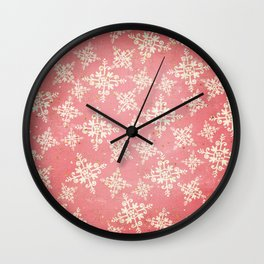Red and Gold Snowflakes 1 Wall Clock