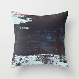 Delight [2]: a vibrant minimal abstract painting in blue and coral by Alyssa Hamilton Art Throw Pillow