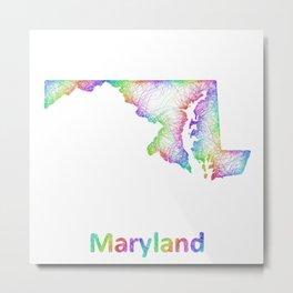 Rainbow Maryland map Metal Print