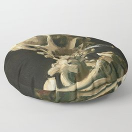 Van Gogh Head of a skeleton with a burning cigarette Floor Pillow