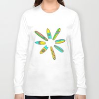 surfboard Long Sleeve T-shirts featuring Retro Surfboard Flower Power by Surfy Birdy