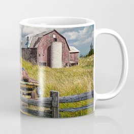 Pickup Truck behind wooden fence in a Rural Landscape Coffee Mug