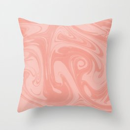 Pantone Living Coral Abstract Fluid Art Swirl Pattern Throw Pillow