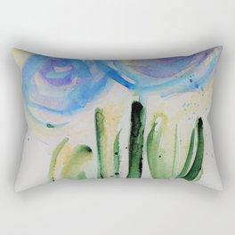 abstackt blue flowers Rectangular Pillow
