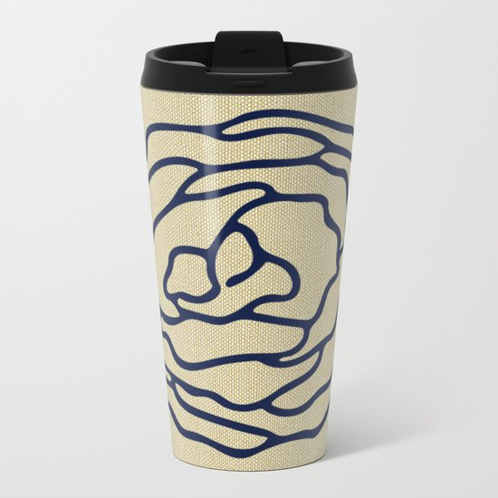 Rose Nautical Navy Blue on Linen Metal Travel Mug