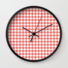 Small Diamonds - White and Pastel Red Wall Clock