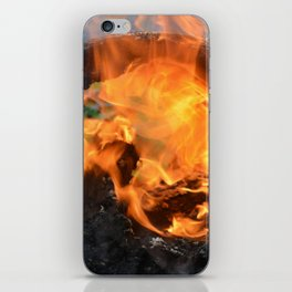 fire in a hollow log iPhone Skin