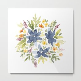 Watercolor Floral Bouquet Metal Print