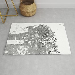 San Francisco Map Schwarzplan Only Buildings Rug