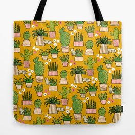 Cactus Cat Yellow Garden Tote Bag