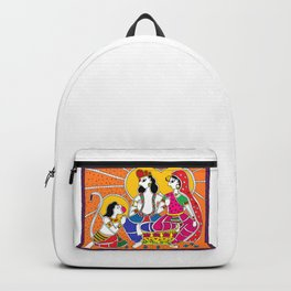 Madhubani Painting / Painting of Ram-Sita-Hanuman/ Madhubani Hub /Original painting of Amrita Gupta Backpack