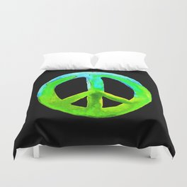 Turquoise Lime Watercolor Tie Dye Peace Sign Duvet Cover