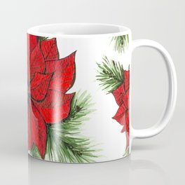 Poinsettia and fir branches pattern Coffee Mug