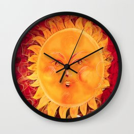 Digital painting of a chubby sun with a funny face Wall Clock