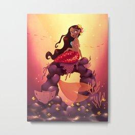 Mermaid With Flower Top Metal Print