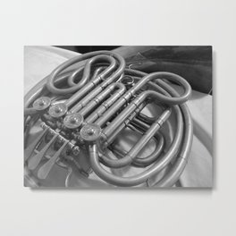 french horn in monochrome Metal Print