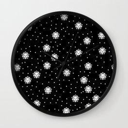 Dark night and winter snowflakes kawaii illustration print Wall Clock
