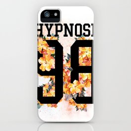Floral sporty print with number and text on it. iPhone Case