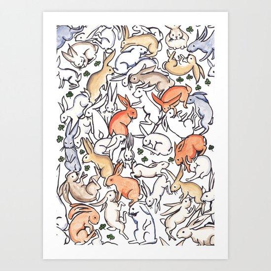 Colour Bunny Pattern Art Print