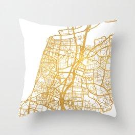 TEL AVIV ISRAEL CITY STREET MAP ART Throw Pillow
