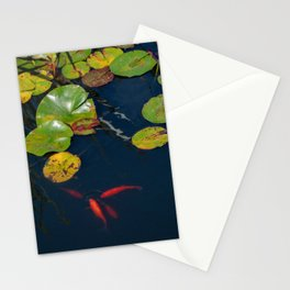 Red Koi Fish in Lily Pad Pond Stationery Cards