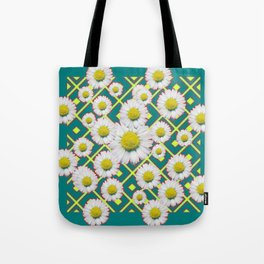 Teal Color Shasta Daisies Lime Pattern Art Abstract Tote Bag
