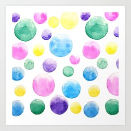 cheerful colorful bubbles Art Print