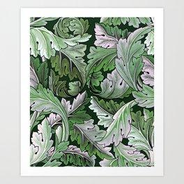 Art Nouveau William Morris Green Acanthus Leaves Art Print