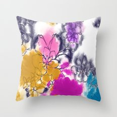 Abstract Flowers - Watercolour Paiting Throw Pillow