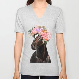Horse with Flowers Crown in Pink Unisex V-Neck