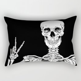 Human skeleton posing isolated over black background vector illustration Rectangular Pillow
