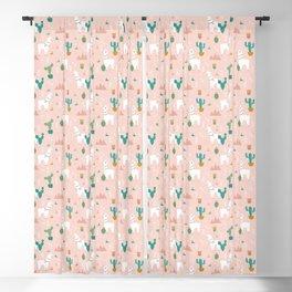 Llamas + Cacti on Pink Blackout Curtain